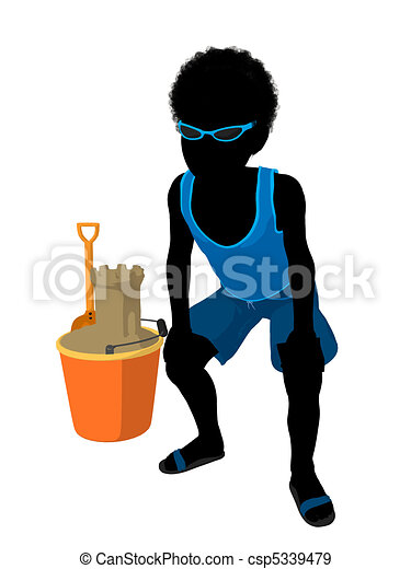 African American Beach Boy Silhouette Illustration - csp5339479