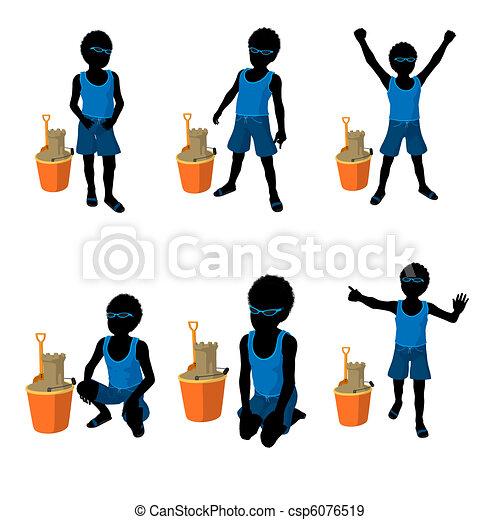 African American Beach Boy Silhouette Illustration - csp6076519