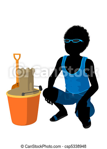 African American Beach Boy Silhouette Illustration - csp5338948