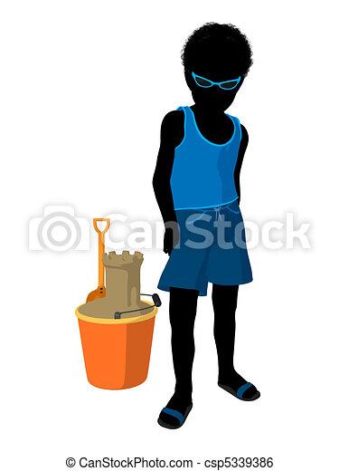 African American Beach Boy Silhouette Illustration - csp5339386