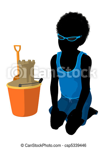African American Beach Boy Silhouette Illustration - csp5339446