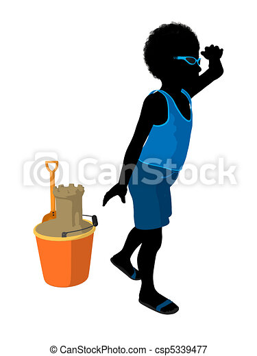 African American Beach Boy Silhouette Illustration - csp5339477