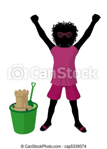 African American Beach Girl Silhouette Illustration - csp5339374