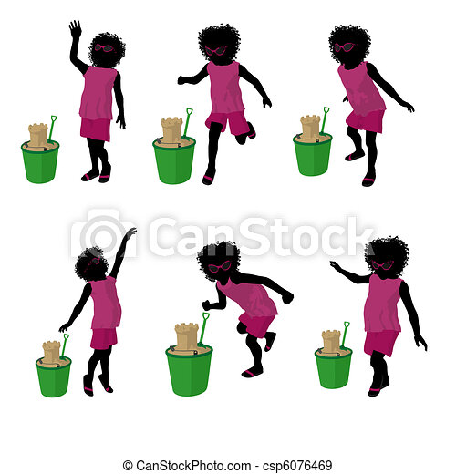 African American Beach Girl Silhouette Illustration - csp6076469