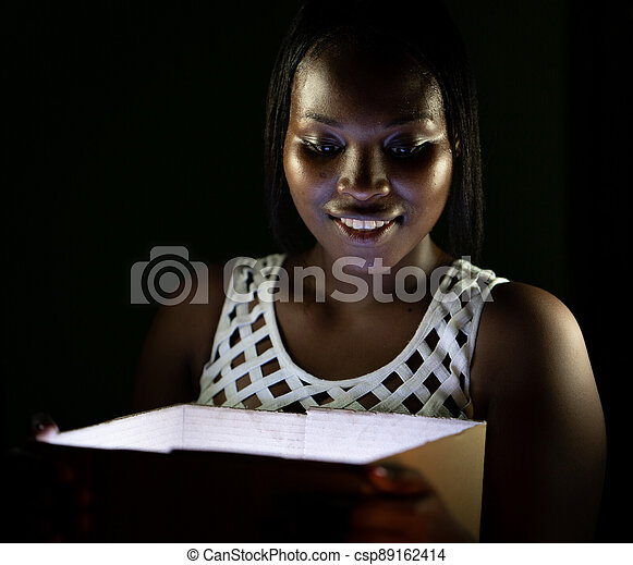 African American black beauty with box gift surprise - csp89162414