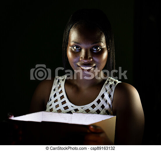 African American black beauty with box gift surprise - csp89163132
