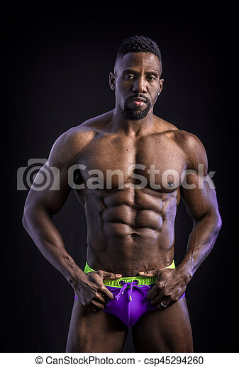 African American Bodybuilder Man Naked Muscular Torso Csp