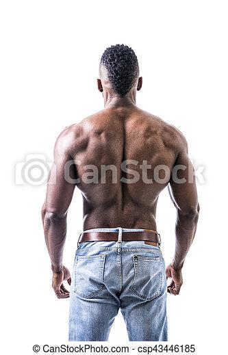 african american bodybuilder man muscular back wearing jeans
