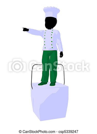 African American Boy Chef Silhouette Illustration - csp5339247