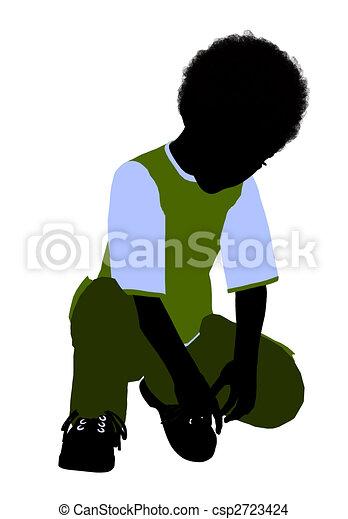 African American Boy Illustration Silhouette - csp2723424