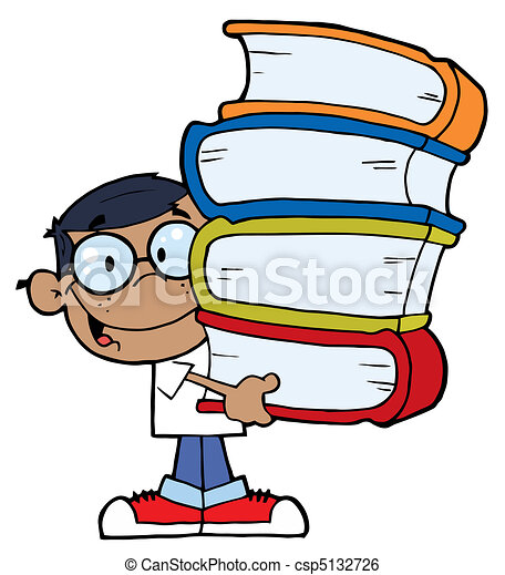 African American Boy With Books  - csp5132726