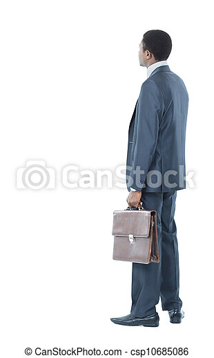 African American business man from the back looking at something isolated white background - csp10685086