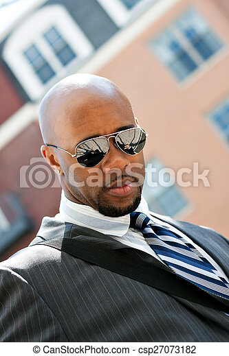 African American Business Man In the City - csp27073182
