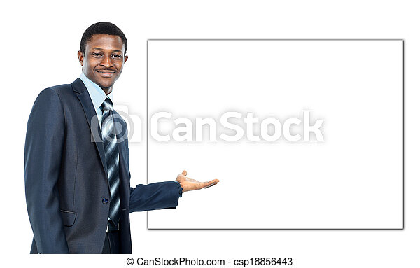 african american business man showing blank signboard, isolated over white background - csp18856443