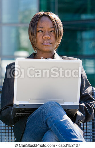 African american business woman with computer - csp3152427