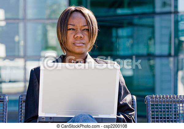 African american business woman with computer - csp2200108