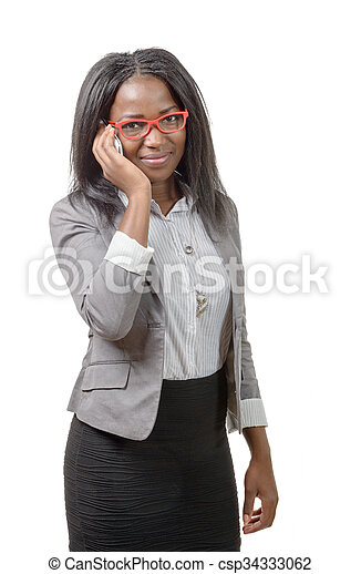 african american business woman with red glasses, on phone - csp34333062