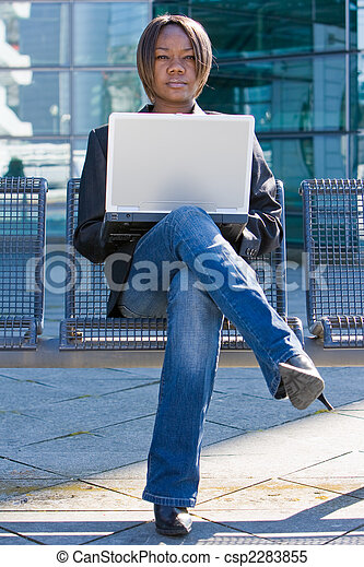 African american business woman with computer - csp2283855