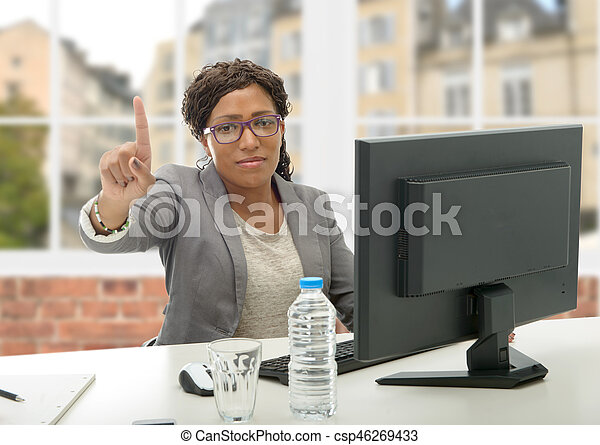 African American business woman working with computer - csp46269433