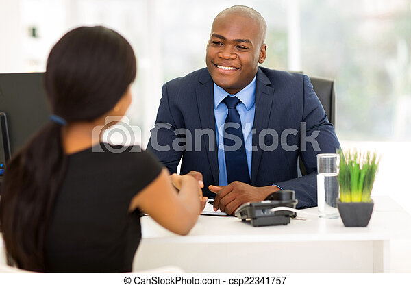 african american businessman handshaking with client - csp22341757