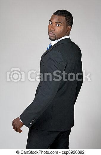 African American businessman looking back - csp6920892
