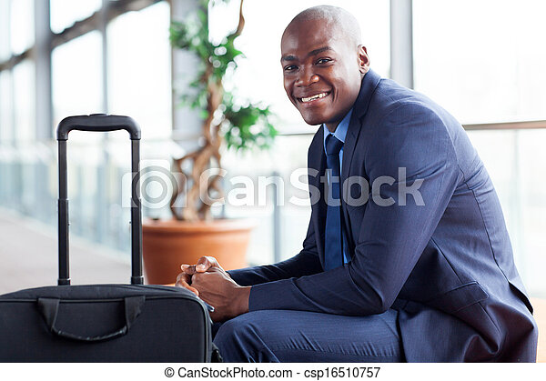 african american businessman waiting in airport - csp16510757