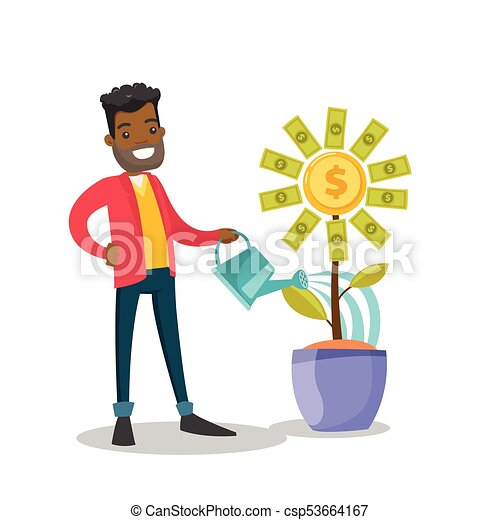 african american businessman watering money flower young clip rh canstockphoto ca happy businessman clipart businessman clipart png