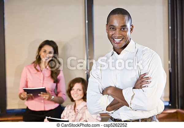 African American businessman with coworkers - csp5262252