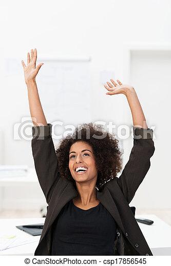 African American businesswoman rejoicing - csp17856545