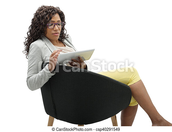 african american businesswoman working with tablet - csp40291549
