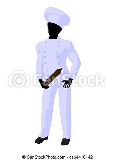 African American Chef Art Illustration Silhouette - csp4416142