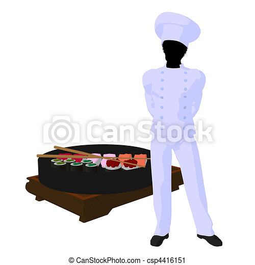 African American Chef Art Illustration Silhouette - csp4416151
