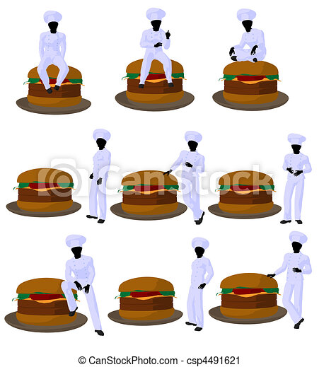 African American Chef Art Illustration Silhouette - csp4491621