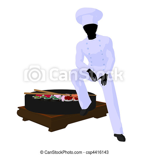 African American Chef Art Illustration Silhouette - csp4416143