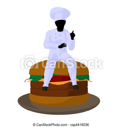 African American Chef Art Illustration Silhouette - csp4416036