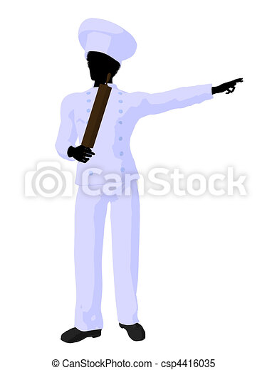 African American Chef Art Illustration Silhouette - csp4416035