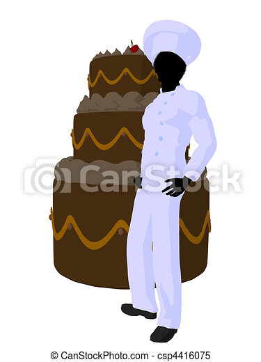 African American Chef Art Illustration Silhouette - csp4416075