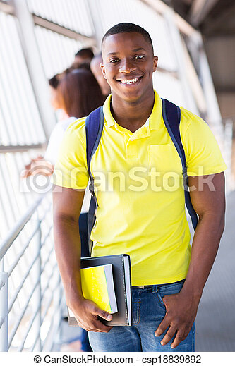 african american college student on campus - csp18839892