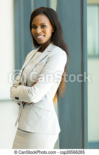 african american corporate worker standing in office - csp26566265