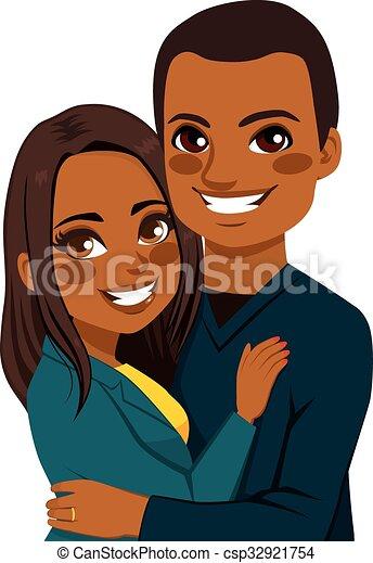 African American Couple Hugging - csp32921754