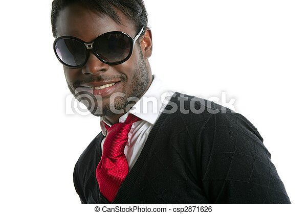 African american cute black young man portrait - csp2871626