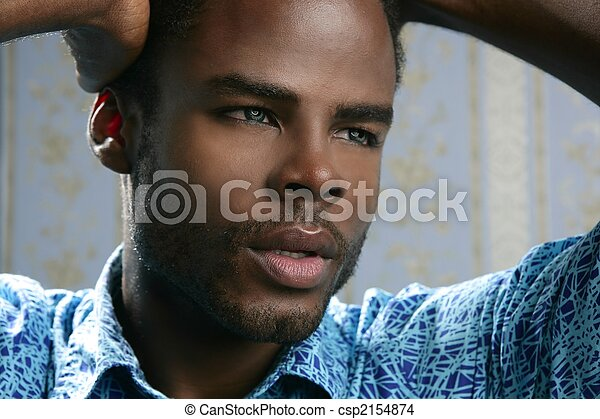 African american cute black young man portrait - csp2154874