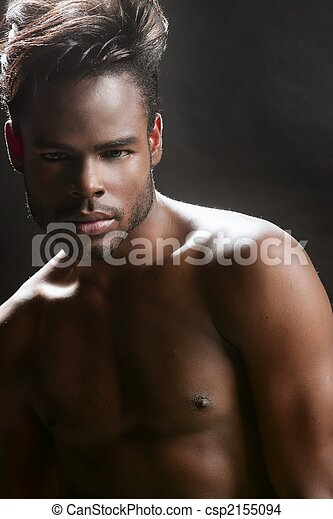 African american cute black young man portrait - csp2155094
