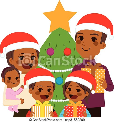 African American Family Celebrating Christmas - csp31552209