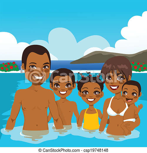 African American Family On Pool - csp19748148