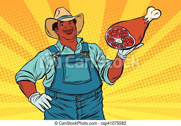African American farmer with meat foot - csp41075582