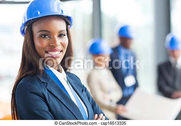 african american female construction worker - csp16513335