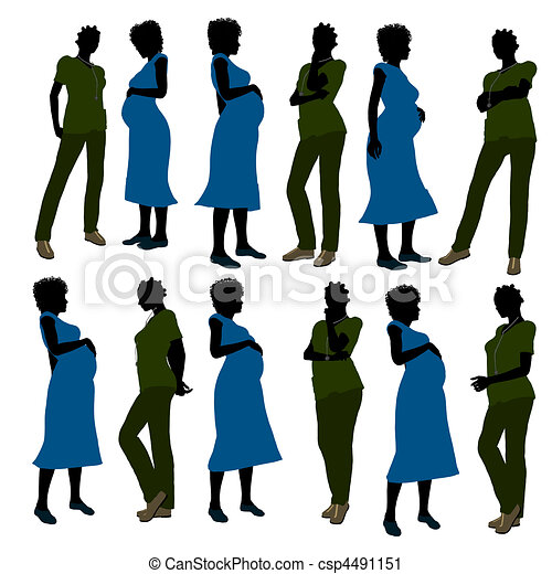 African American Female Doctor Silhouette - csp4491151