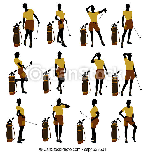 African American Female Golf Player Illustration Silhouette - csp4533501