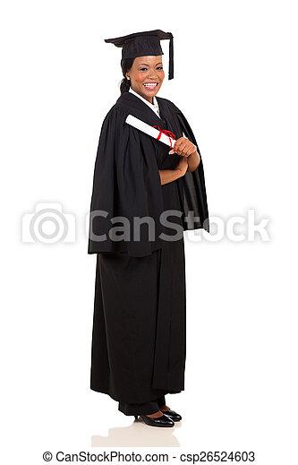 african american female graduate full length - csp26524603